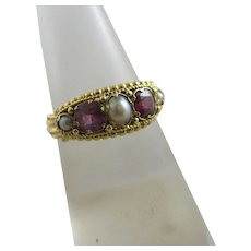 Pink Tourmaline Pearl 18k Gold Ring Antique Victorian c1860.
