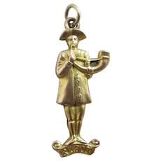 Ripon Hornblower 9k Gold Pendant Charm Antique Edwardian 1904.