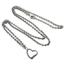 Pierced Heart Pendant 9k White Gold Necklace Vintage c1980.