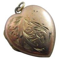 Heart 9k Gold Back & Front Pendant Locket Vintage Art Deco c1920.