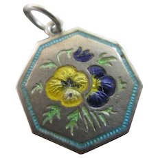 TLM Thomas L Mott Month of May Enamel Pansy Sterling Silver Pendant Charm Vintage Sweetheart WWII.