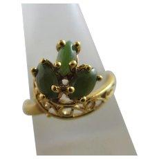 Jade 14k Gold Ring Vintage c1950.
