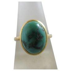 Turquoise 9k Gold Ring Antique Edwardian c1910.