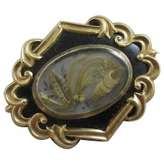 Mourning Hair Black Enamel 9k Gold Mourning Brooch Pin Antique Victorian c1860.