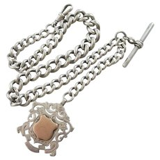 Sterling Silver 9k Gold Shield Pendant Fob Watch Chain Antique Victorian 1894 English Hallmark.
