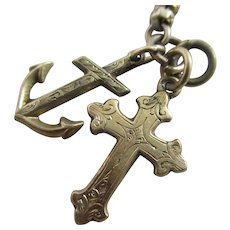 Anchor of Hope & Cross Pendant Charm 9k Gold Watch Chain Antique Victorian c1880.