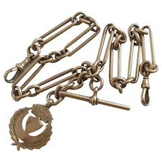 Crescent Moon Fob 9k Gold Double Watch Chain Antique Victorian English 1879 Hallmark.
