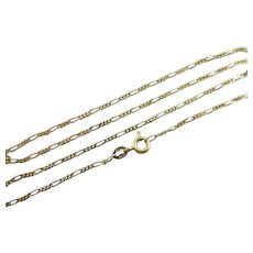 """9k Gold Figaro Link Chain Necklace 46.0cm / 18.1"""" Vintage c1980."""