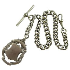 Shield Pendant Fob Watch Chain Nickel Silver Antique Victorian c1890.