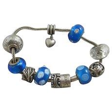 Rhona Sutton Sterling Silver Heart Charm Bracelet Vintage c1990.
