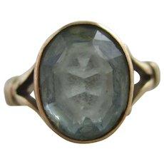 Blue Paste 9k Gold Ring Antique Edwardian 1917 English Hallmark.
