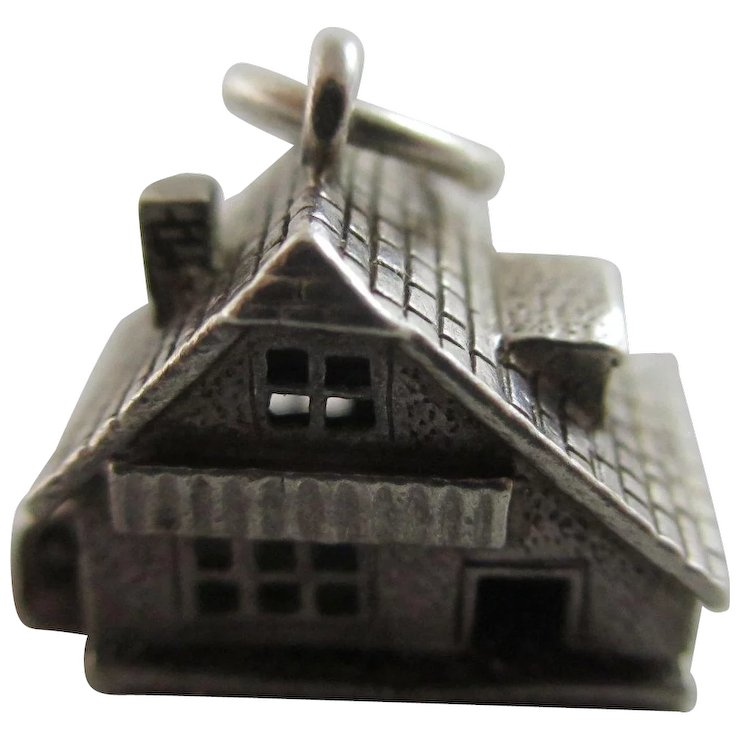 Opening House Furniture In Sterling Silver Pendant Charm Vintage C1960.