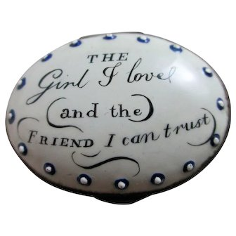 'The Girl I Love and the Friend I Can Trust' Bilston Enamel Patch Box Antique Georgian c1790.