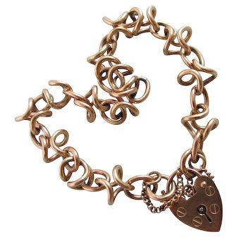 Unusual Link 9k Gold Bracelet Heart Padlock Clasp Vintage English c1990.