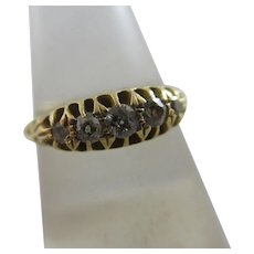 Diamond 18k Gold Ring Antique 1898 English Victorian Hallmark.