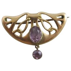 Amethyst 9k Rose Gold Brooch Pin Antique Art Nouveau c1890.