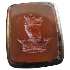 Intaglio Family Crest Carnelian Seal 9k Gold Cased Fob Pendant Antique Victorian c1840.