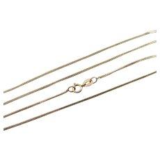"""9k Gold Curb Link Chain Necklace 45.2cm / 17.8"""" Vintage c1980."""