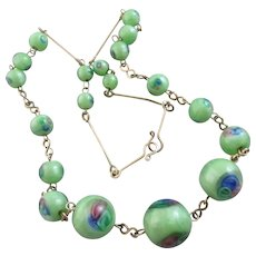 "Peacock Glass Bead Necklace 43.0 cm / 16.9"" Vintage Art Deco c1920."