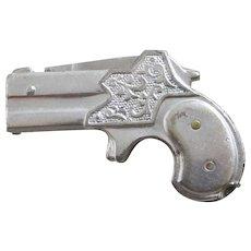 Faux Pistol Pen Knife Nickel Silver & Stainless Steel Vintage Art Deco c1920.