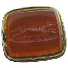 Intaglio Running Greyhound Dog Seal 9k Gold Case Pendant Fob Antique Victorian c1840.