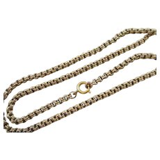 "9k Gold Cable Link Chain Necklace 51.0 cm / 20.0"" Antique Victorian c1890."