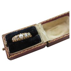 Diamond & Pearl 18k Gold Ring Antique Victorian c1890 in Antique Jewellery Ring Box.