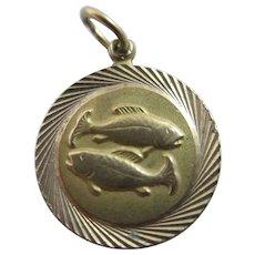 Zodiac Pisces the Fish 9k Gold Pendant Charm Vintage 1963 English Hallmark.