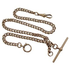 9k Gold Double Albert Watch Chain Moving T Bar Pendant Antique English 1890 Victorian Hallmark.
