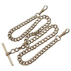 9k Gold Double Albert Watch Chain Necklace Antique Victorian 1876 English Hallmark.