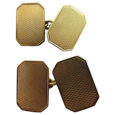 18k Gold Gentleman's Cufflinks Vintage English 1968 Hallmark by S J Rose & Son.