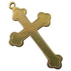 9k Gold Cross Pendant Vintage Art Deco c1920.