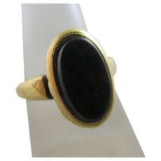 Bloodstone 18k Gold Signet Ring Antique Victorian c1890.