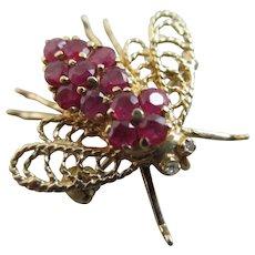 Ruby 14k Gold Bug Bee Brooch Pin Vintage Art Deco c1920.
