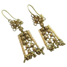 18k Gold Dangling Ear Pendant Earrings Antique Victorian c1890.