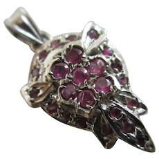 Real Ruby Sterling Silver Pendant Vintage c1980.