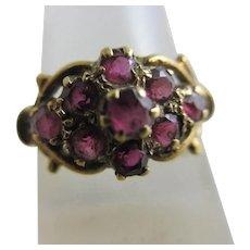 Real Ruby 9k Gold Ring Vintage English 1977 Hallmark.