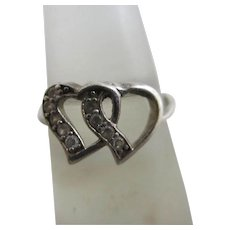 Double Heart Faux Diamond Sterling Silver Ring Vintage c1980.