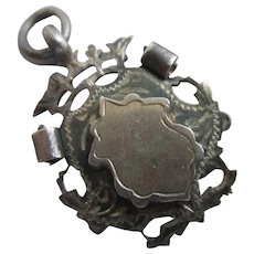 Shield Watch Fob Pendant Sterling Silver Antique English Edwardian 1917.