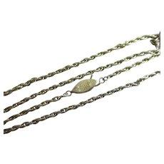 "Double Fish Clasp Silver Rope Chain Necklace 51.2 cm / 20.1"" Vintage Art Deco c1920."