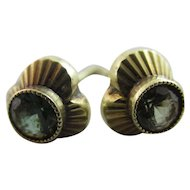 Peridot 14k Gold Stud Earrings Vintage c1930 Art Deco.