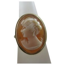Shell Cameo 9k Gold Ring Antique Edwardian c1910.