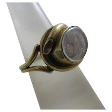 Mourning Braided Hair 9k Gold Locket Ring Antique Georgian c1820.
