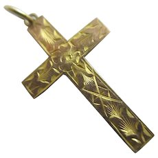 Forget Me Not Cross Pendant 9k Gold Antique Edwardian c1910.