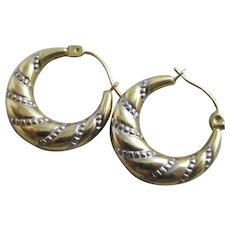 2 Colour 9k Gold Creole Sleeper Hoop Earrings Vintage c1980.