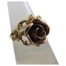 English Rose Gold Rose 9k Gold Ring Vintage 1976.