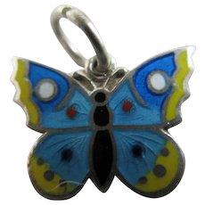 Enamel Butterfly Sterling Silver Pendant Charm Vintage Art Deco c1920.