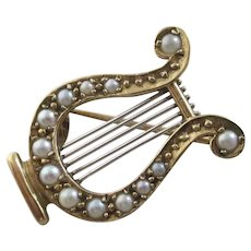 Greek Lyre Music Brooch Pin Seed Pearl 9k Gold Vintage English Hallmark.