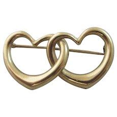 Double Heart 9k Gold Brooch Pin Vintage Art Deco c1920.
