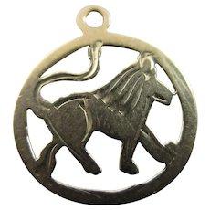 Leo the Lion Zodiac 9k Gold Pendant Charm English Vintage 1962.